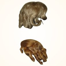 2  Blond Wigs 1 Antique 11 Inch Mohair 12 Inch Saran