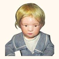 16 Inch 400 Series  Schoenhut Wigged Character Boy Brown Intaglio Eyes