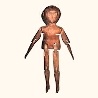Primitive 16 Inch 19th Century American Carved Wood Mortise and Tenon Jointed Doll