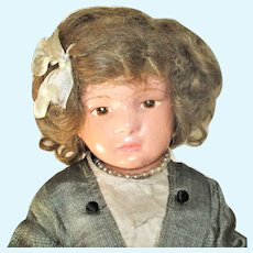1 6/300 Schoenhut Character Girl Brown Intaglio Eyes Chin Dimple Original Wig Bow Shoes Stockings Union Suit Dress and Stand