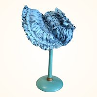 Wired Blue Shirred Bonnet with Big Brim Ecru Lace for 18-20 Inch Doll