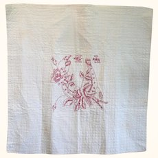 19th Century White Quilted Linen Crib Quilt Red Embroidered Lucky Horse Shoe