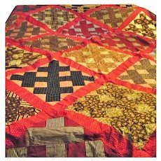 94 by 90 Inch 19th Century Hand Pieced Quilt Top Turkey Red Calico Indigo Madder Brown Prints