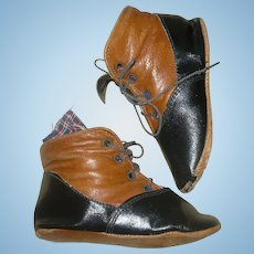 """19th Century 4"""" Saddle & Black Leather High Tops No Left or Right Side"""