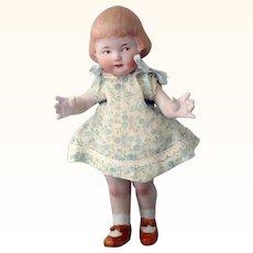 "8.5"" Heubach AB Girl Bobbed Hair Bangs Intaglio Eyes Factory Costume"