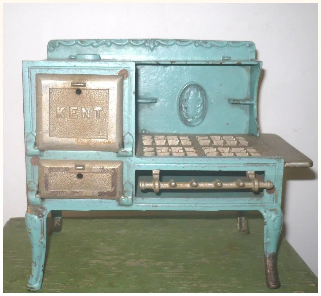 Doll Size Blue Finished Cast Iron Kent Stove Oven Doors Open ...