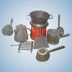 19th C Tin Smith Made Shaker Kitchen Wares