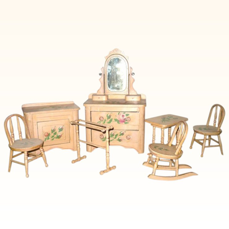 whimsy furniture. Victorian 8 Piece Painted Cottage Doll Bedroom Furniture Set Whimsy Furniture L