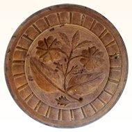 "4.5"" One Piece 19th Century  Carved Wood NJ Double Rose Butter Stamp Nut Brown Surface"