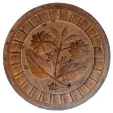 """4.5"""" One Piece 19th Century  Carved Wood NJ Double Rose Butter Stamp Nut Brown Surface"""