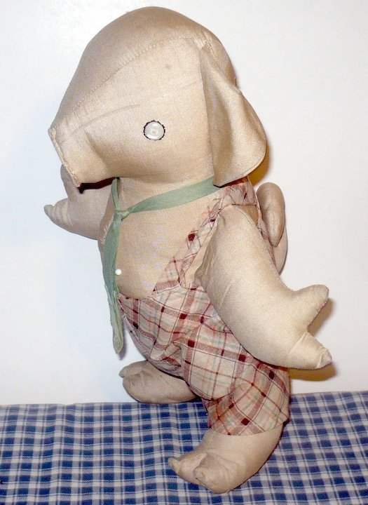 9a92a8c2c29 13 Inch 1930 s Pennsylvania Stuffed Toy Linen Pig in Overalls ...