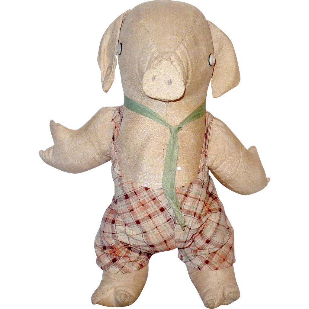 b48ea7062a7 13 Inch 1930 s Pennsylvania Stuffed Toy Linen Pig in Overalls   aMERicana    wHimsy