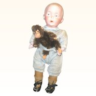 10.5 Inch Heubach Bisque Head Character 8774 Whistler Original Romper and Working Whistle