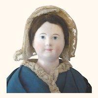18 Inch  French Papier-mache Painted Blue Eyes Blown Kid Body Original Wig Black Painted Hair Regional Costume