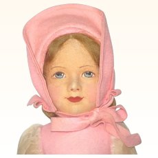 Fine 14 Inch Chad Valley Painted Pressed Felt Girl Linen  Body 2 Hang Tags Fresh Colors Great Face Crispy Costume