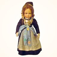 11 / 12 Inch Lenci Girl  In Regional Costume with Burden Basket  Ribbon Strip Tag and Box