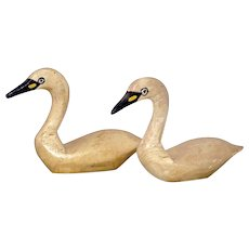 Pair NJ Signed Carved and Painted Wood Miniature Swan Decoys - Red Tag Sale Item