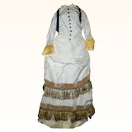 """2 Piece Carrie Hall Blue on Ivory Stripe Silk Like Doll Gown Gold Accents Back Interest for 27"""" FG Mannequin French Fashion"""