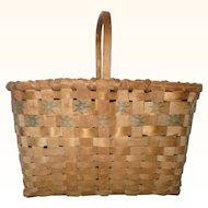 19th Century Star Stamped Oak Splint Market or Gathering Basket Carved Handle