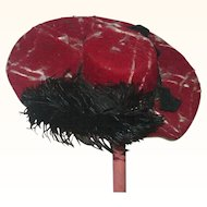 Dramatic 19th Century Cranberry and Ivory Velour Felt Fashion Doll Hat Black Plume Bows