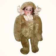 Antique 11 Inch Bear Doll Bisque Head Beige Mohair Bear Body with Squeaker