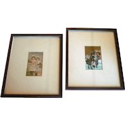Two 19th C Framed Trade Cards Girls with Dolls Bridgeport Connecticut Clothiers