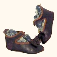 3.75 Inch Size 11 Bronzed Leather Jumeau Bee Mark Shoes Original Bows Ankle Straps with Button