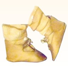 3.5 Inch Size 10 Champagne Silk Bebe Jumeau Depose Shoes and Stockings