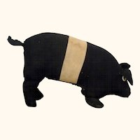 Old Folk Art 13 Inch Black and Cream Stuffed Linen PA Amish Toy Pig with Button Eyes Flipper Front Legs