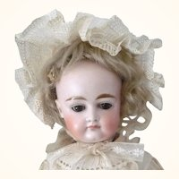 19th Century Kestner Bisque Head 14 Inch Doll Closed Mouth Swivel Neck Sleep Eyes Beautiful Face Kid Body Stitched Toes Original Wig Dress Under's Hairline