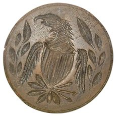 3.75 Inch Carved Wood 19th Century PA Eagle with Chest Shield Clutching Arrows in Laurel Wreath One Piece Butter Stamp