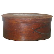 5.5 Inch 19th Century 3 Finger Bent Wood Oval Box Tiny Pegs  and Copper Tacks