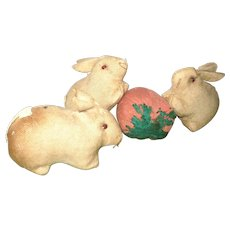 3 Wee Old Pennsylvania Amish Rabbits Bead Eyes Short Limbs with  Big Strawberry Pincushion