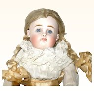 Fine13 Inch 19th Century Kestner Bisque Head Doll Closed Mouth Blue SE Straight Wrists