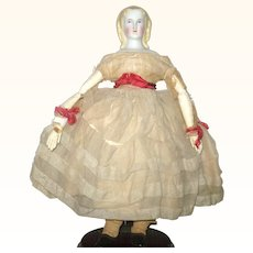 Fine 11 Inch 1860 Blond Alice Parian Long Curls Original Layered Costume Body and Slippers