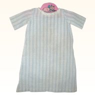 Old Hand Stitched Blue and Ivory Pattern Woven Linen Gown for China or Papier-mache Doll