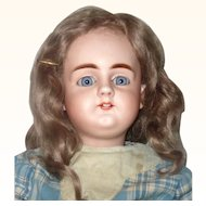 Fine 21 Inch 19th Century Simon Halbig 979 Gorgeous Blue Sleep Eyes OM Square Teeth Straight Wrist Chunky Body Original Wig Antique Costume