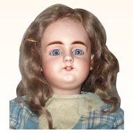 Fine 21 Inch 19th Century Simon Halbig 979 Gorgeous Blue Sleep Eyes OM Square Teeth Straight Wrist Chunky Body Original Wig Antique Costume