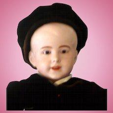17.5 Inch Bisque Head SFBJ 237 PARIS Character Boy Hazel Jewel Eyes Pale Bisque Molded Hair