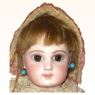 Fine 14 Inch Size 4 Portrait Jumeau Brown PW Eyes Mauve Shadow Original Neck Coil Cork Pate Wig Costume  and Signed Shoes