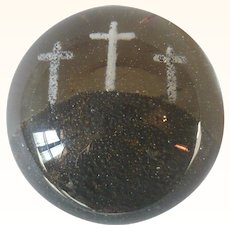 19th Century South Jersey 3.5 Inch Frit Blown Glass Crucifixion Paper Weight