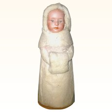 6.5 Inch German Snow Girl  Candy Container with Heubach Bisque Pouty Face Spun Cotton Hood Coat Muff