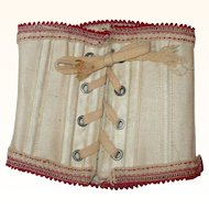 Red Trimmed Ivory Boned Lace-up Doll Corset