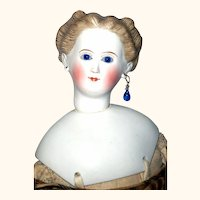 20 Inch 1860's C.F. Kling Parian with Swivel Neck Cobalt Glass Eyes Pierced Ears Brush Strokes Great Costume Boots  Missing Detachable Molded Curl Plug Hairline