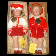 Pair of 14 Inch Kathe Kruse Doll IX Western Germany 1940's In Box with Wrist and Neck Tags