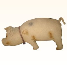 Old Prim 18 Inch Theorem Painted Brushed Linen Pennsylvania Folk Art Toy Stuffed PIg with Glass Eyes Wired Curly Tail