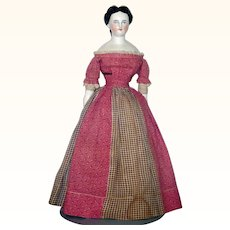 14 Inch 1860 China Lady Elaborate Hair Do Original Linen Body China Limbs Calico and Home Spun Costume
