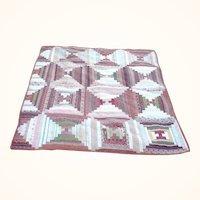 19th Century New Jersey Pieced Crib Quilt Log Cabin Madder Brown and Other Early Linen Prints