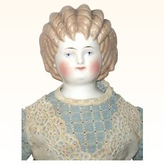 17 Inch ABG Cafe-au-lait Curly Top China Original Linen Body Leather Arms Great  Face and Dress