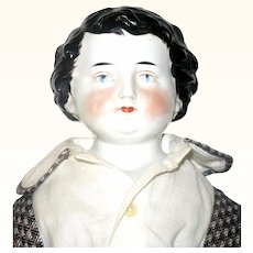 24 Inch A W Kister China Shoulder Head Boy Molded Curls Tendrils Brush Stokes Ear Lobes Original Linen Body Leather Arms